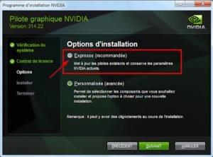 Update NVIDIA drivers with an Express installation