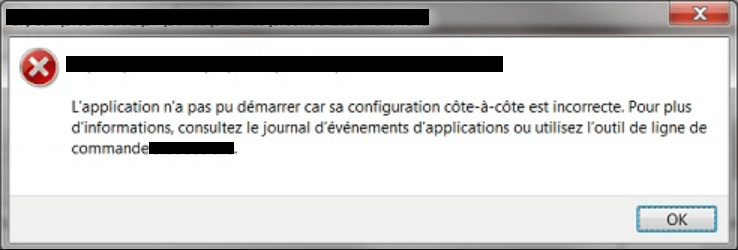 the application failed to start because its side-by-side configuration is incorrect